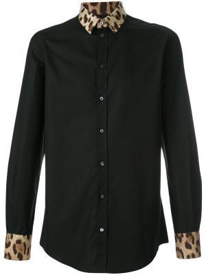 Рубашка с воротником леопардовым узором Dolce & Gabbana. Цвет: чёрный