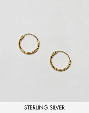 ASOS Серебряные серьги-кольца 12 мм с позолотой DESIGN. Цвет: золотой