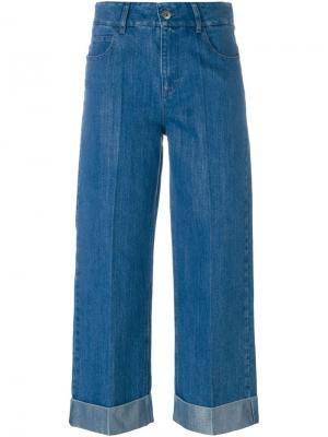 Широкие укороченные джинсы Each X Other. Цвет: синий