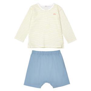 Комплект: футболка + шаровары,  0 мес.- 2 года La Redoute Collections. Цвет: синий + в полоску/белый