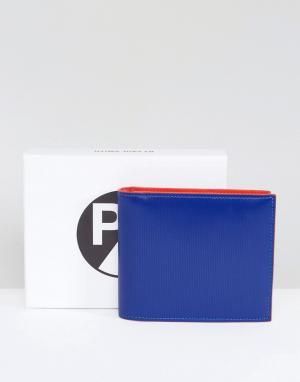 PS Paul Smith Ярко-синий кожаный бумажник с тиснением. Цвет: синий