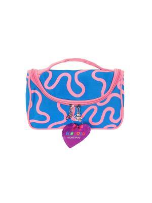 Косметичка - сумочка Голубая с узором EL CASA. Цвет: голубой, розовый