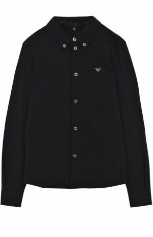 Хлопковая рубашка с отделкой и воротником button down Armani Junior. Цвет: темно-синий