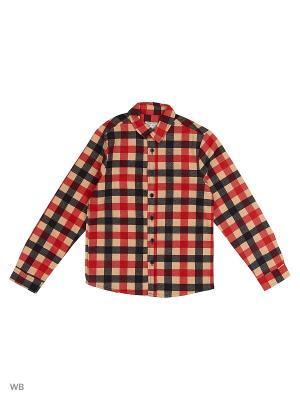 Рубашка  для мальчика Bonito kids. Цвет: черный, красный