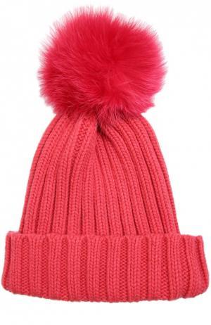 Вязаная шапка с меховым помпоном Nima. Цвет: розовый