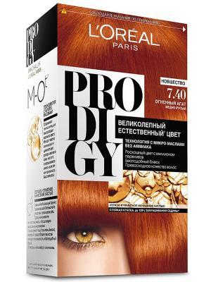 Краска для волос Prodigy без аммиака, оттенок 7.40, Огненный агат L'Oreal Paris. Цвет: коричневый, рыжий