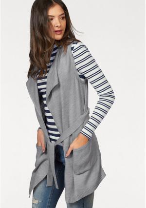 Удлиненный жилет AJC. Цвет: серый, черный