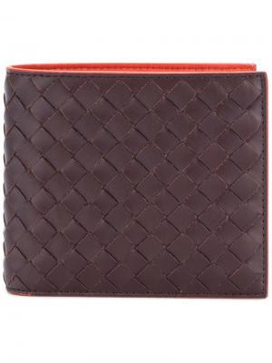 Bi-fold woven wallet Bottega Veneta. Цвет: коричневый
