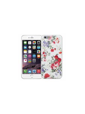 Чехол для iPhone 6/6s Цветочный (белый) Kawaii Factory. Цвет: белый, зеленый, красный