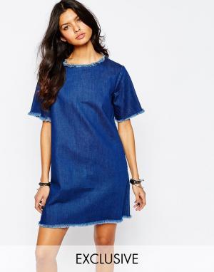 Northmore Denim Джинсовое oversize‑платье с необработанной кромкой. Цвет: синий