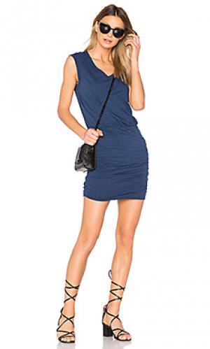Мини платье bardot Velvet by Graham & Spencer. Цвет: синий