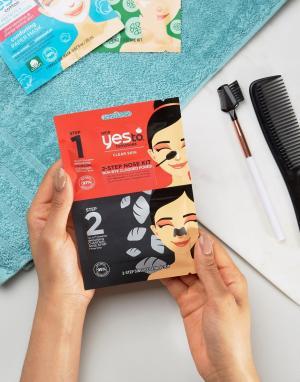 YES TO Набор угольных очищающих полосок для носа с 2-этапным применением. Цвет: бесцветный