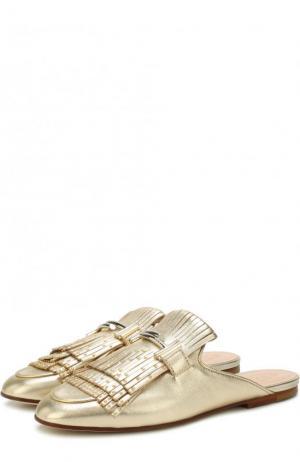 Сабо из металлизированной кожи с декорированной бахромой Tod's. Цвет: золотой
