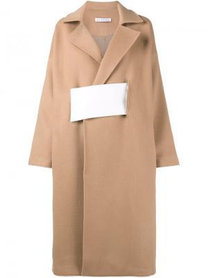 Трехцветное пальто Rejina Pyo. Цвет: коричневый