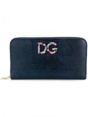 Кошелек на молнии Dolce & Gabbana. Цвет: синий