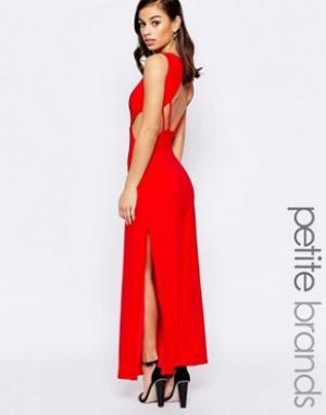 Lipstick Boutique Petite Платье макси с открытой спиной. Цвет: красный