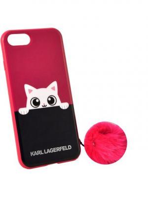 Чехол Lagerfeld для iPhone 7 K-Peek A Boo Hard TPU Pink Karl. Цвет: розовый