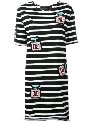 Полосатое платье с заплатками Michaela Buerger. Цвет: чёрный