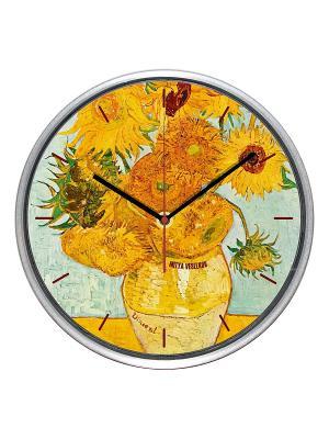 Часы настенные Подсолнухи (30см) Mitya Veselkov. Цвет: оранжевый