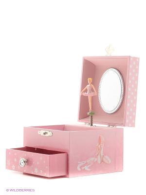 Шкатулка музыкальная с фигуркой и выдвигающимся отделением Jakos. Цвет: бледно-розовый