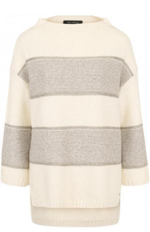 Пуловер из смеси кашемира и шерсти укороченным рукавом St. John. Цвет: бежевый