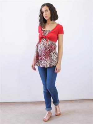 Блузка Адель. Цвет: бежевый, красный