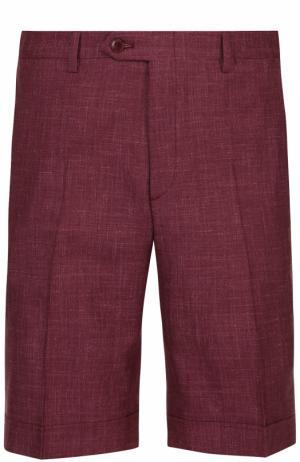 Шорты из смеси шерсти и шелка со льном Brioni. Цвет: бордовый