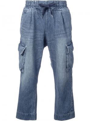 Укороченные широкие джинсы Clothsurgeon. Цвет: синий