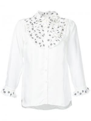 Рубашка с оборчатой манишкой Jupe By Jackie. Цвет: белый
