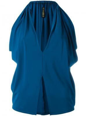 Блузка со шлицей спереди Plein Sud. Цвет: синий