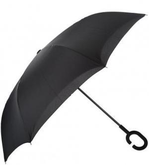 Зонт-трость с внешним сложением купола FLIORAJ. Цвет: черный