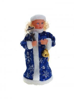 Снегурочка музыкальная с факелом в синей шубке (с подсветкой, русская мелодия),23 см. А М Дизайн. Цвет: черный, синий, коралловый, золотистый, персиковый, белый