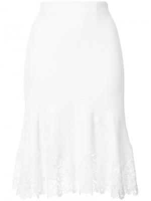 Расклешенная юбка с кружевными вставками Rebecca Taylor. Цвет: белый