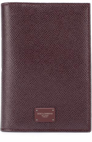 Кожаная обложка для паспорта Dolce & Gabbana. Цвет: бордовый