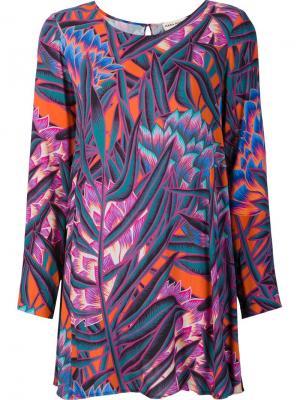 Платье свободного кроя с рисунком Mara Hoffman. Цвет: розовый и фиолетовый