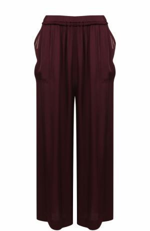 Укороченные широкие брюки с эластичным поясом Raquel Allegra. Цвет: бордовый