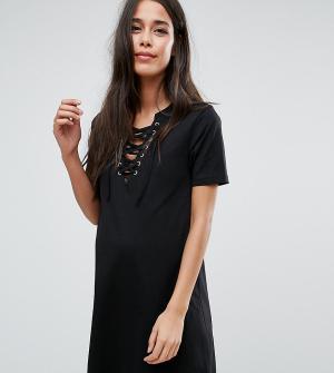 ASOS Maternity Платье-футболка для беременных со шнуровкой. Цвет: черный