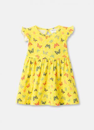 Трикотажное платье для девочек OSTIN. Цвет: светло-желтый