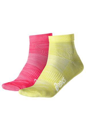 Носки (2 пары в упаковке) 2PPK TECH ANKLE SOCK ASICS. Цвет: розовый, желтый