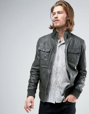 Goosecraft Кожанная куртка-бомбер цвета хаки. Цвет: зеленый