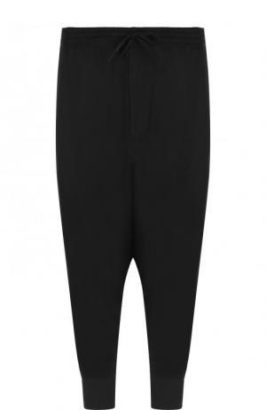 Хлопковые брюки с заниженной линией шага Y-3. Цвет: черно-белый