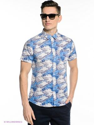 Рубашка Oodji. Цвет: голубой, белый