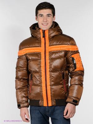 Пуховик CONVER. Цвет: коричневый, оранжевый