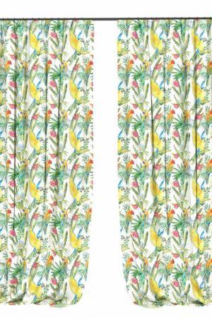 Фотошторы Попугай в кактусе BELLINO HOME. Цвет: зеленый, желтый