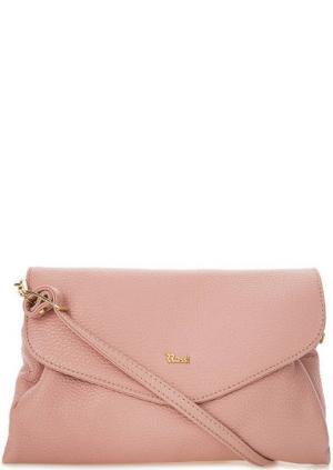 Кожаная сумка через плечо с откидным клапаном Bruno Rossi. Цвет: розовый
