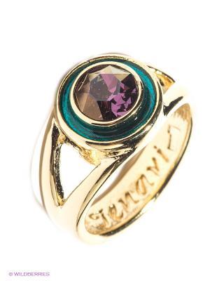 Кольцо Jenavi. Цвет: золотистый, бирюзовый, сиреневый