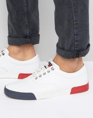 Tommy Jeans Белые кожаные кеды Hilfiger Yarmouth. Цвет: белый