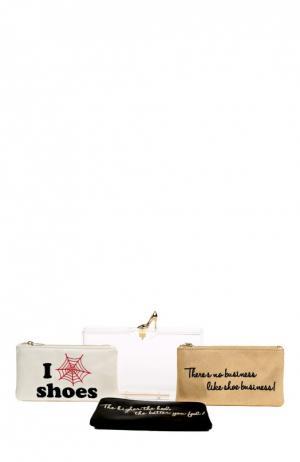 Клатч Pandora Loves Shoes с набором косметичек Charlotte Olympia. Цвет: прозрачный