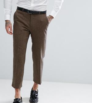 Heart & Dagger Прямые укороченные брюки из твида. Цвет: коричневый