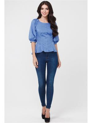 Блузка MARY MEA. Цвет: голубой